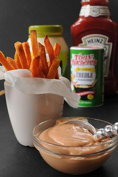 A Cajun Dip for Sweet Potato Fries Ingredients: 1/4 cup mayonnaise (I prefer olive oil mayonnaise for fewer calories) 1 tablespoon ketchup 1 teaspoon molasses 1 1/2 teaspoon Cajun seasoning (adjust to suit your tastes)