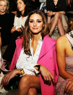 Olivia Palermo / hot pink jacket.