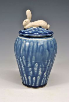 Blue Ash Hare Vessel by carolynsjing on Etsy