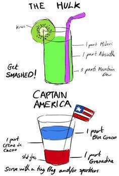 cocktail recipes, aveng cocktail, captain america, cocktails, america cocktail