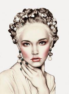 Hannah Muller (Myltan) {contemporary figurative illustrator female head beautiful woman face portrait drawing #2good2btrue} http://loudmajor.com/myltan