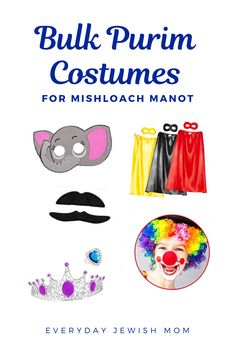 I love packing and giving out mishloach manot every year for Purim. Dressing up in Purim costumes is part of the fun, so this year I'm including a little bit of dress up along with the hamantaschen. Purim Costumes, Easy Costumes, Stick On Mustaches, Mishloach Manos, Clown Nose, Sunday School Teacher, Princess Jewelry, Unicorn Headband, Rosie The Riveter