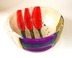 Linda Styles - Small/medium bowl with three red tree shapes 7 x 17 x 17 cms Sold