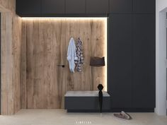 Dark gray and natural wood tones. Modern accents in - gray # entrance # wood tones # Informations About Skandinavischer moderner Eingang. Modern Hallway, Modern Entrance, Entry Hallway, House Entrance, Entrance Hall, Modern Closet, Modern Wardrobe, Entryway Lighting, Entryway Decor