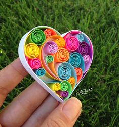 Excited to share this item from my shop: Mini Quilling Art Rainbow Heart-Unique Gift-Art Magnet-Love Gift-Handmade Magnet-Quilled Heart-Paper Anniversary Gift,Mothers Day Gift