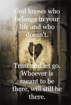 Trust and let go.
