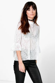 Rose All Over Lace High Neck Blouse