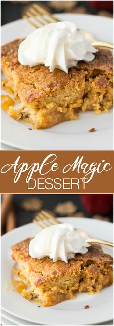 Apple Magic Dessert - Technically, a dump cake, but I prefer to call it a magic dessert. This easy recipe is made with pie filling, caramel sauce, doctored cake mix and butter.