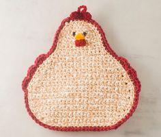 Chicken Pot holder crochet hen hot pad organic by crotchetymama, $16.00