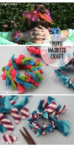 Three Crafts in one, this TuTu hairtie Craft is super simple to make and has the beauty of serving many purposes all at once. #bracelet #dollclothes #feltcraft