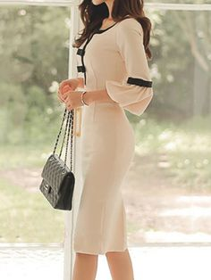Sweet Heart Plain Blend Bodycon Dress - - Source by cillaslovely Fall Fashion Trends, Autumn Fashion, Women's Fashion Dresses, Dress Outfits, Work Outfits, Bodycon Dress Formal, Beige Dresses, Chiffon Dresses, Dresses Dresses