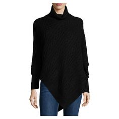 Neiman Marcus Cashmere Diagonal Hem Sweater Tunic, Black ($275) ❤ liked on Polyvore featuring tops, tunics, turtleneck tops, cashmere tops, long turtleneck, cable knit turtleneck and long tunics