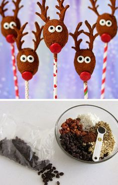 Healthy No Bake Raisin Reindeers   Click for 26 Easy Christmas Party Food Ideas for Kids   Easy Holiday Treats for Kids to Make