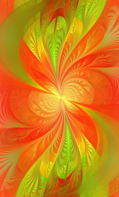 Orange and green Fractal Design, Fractal Art, Green And Orange, Shades Of Green, Green Melon, World Of Color, Optical Illusions, Art Forms, Les Oeuvres