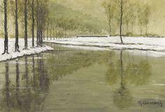 Max Clarenbach (German, 1880-1952), Winter an der Erft. Oil on cardboard, 20 x 28 cm.