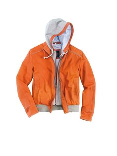 #TuesdayTreasure | Hooded leather-blouson with side pockets in trendy orange #bugattifashion #menswear #springsummer14 #leather #jacket #orange
