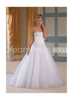 Beaded Strapless Ball Gown Chapel Best Sell Wedding Dress WD-0099