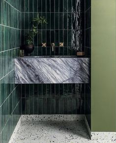 Mandarin Stone - The House Directory Stone Bathroom, Green Bathroom Tiles, Dark Green Bathrooms, Green Tiles, Mandarin Stone, Terrazzo Tile, Decoration Bedroom, Outdoor Tiles, Bathroom Interior Design