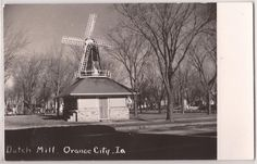 "Orange City, Iowa Postcard Real Photo RPPC Postcard ""Dutch Mill"" 1956 IA Cancel 