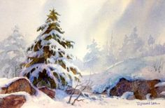 Snow on Rocks , Watercolor Painting of a Snow Scene - Watercolor Paintings by Roland Lee
