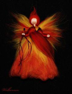 ✽ Fee des Feuers ✽ Märchenwolle Fee / Elfe Jahreszeitentisch Dekoration | eBay