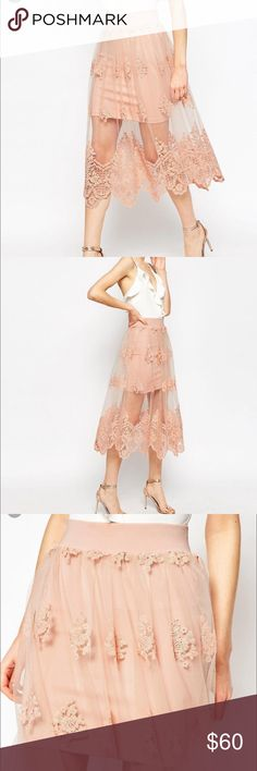 """Absolutely Gorgeous embroidered lace mesh skirt MIDI skirt in embroidered mesh lace / skirt underlining has amazing stretch / ( see pic 4 ) I wear size 10-12 skirt is true to size / in excellent condition worn once / waist 16"""" laying flat / length 31.5"""" / underskirt length 18"""" Skirts Midi"""