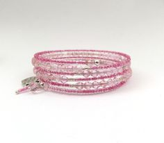 Pink Bangle, Bicone Crystal, and Mid Pink Beaded, Memory Wire Wrap Bracelet, Boho Chic