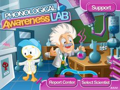 "Phonological Awareness Lab by Smarty Ears ($13.99) a fun, multi-level game specifically designed to improve phonological awareness in children. Designed by a certified speech-language pathologist, PAL incorporates a fun science lab theme to encourage children to demonstrate their phonological awareness.  Created to help teach phonological awareness, PAL incorporates four (4) ""labs"" to target the essential phonological awareness skills needed for reading."