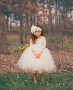 long sleeve lace tutu dress, ivory lace flower girl dress with long sleeves / http://www.deerpearlflowers.com/flower-girl-dresses-shops/3/