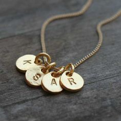 Gold Monogram Necklace  Four Initials Hand Stamped Gold by burnish, $49.00
