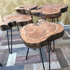 Warsha store offers you a perfect modern designs fits your needs Take the step and order it now😎 Wood Slab Table, Wood Stool, Wooden Dining Tables, Trendy Furniture, Diy Pallet Furniture, Rustic Furniture, Rustic Farmhouse Decor, Rustic Wood, Wooden Slices