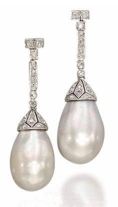 A PAIR OF BELLE EPOQUE NATURAL PEARL AND DIAMOND EAR PENDANTS