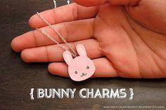 DIY your own Cute Bunny Charms @ mintedstrawberry.blogspot.com #kawaii #cute #freetemplate