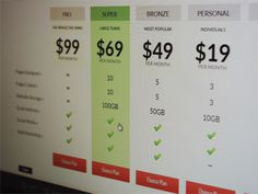 Pricing Plan i found from Nat Tarbox