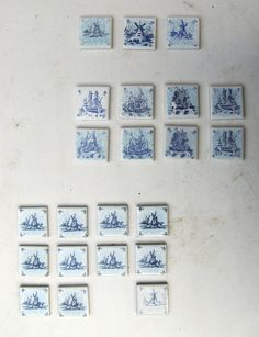 Dutch, Vintage Mini Ceramic Tiles, blue miniature windmills and ships -
