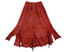 Amazon.com: Gypsy Skirt Stonewashed Rayon Orange Embroidered Boho Maxi Skirts: Clothing #Maxi Skit #Long Skirt #Gypsy Skirt #Hippie Skirt #Wrap Around Skirt #mogulinterior.com