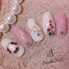 55 Festive Christmas Nail Art Ideas - Page 14 of 28 - Veguci Nail Art Noel, Xmas Nails, Winter Nail Art, Christmas Nail Art, Holiday Nails, Winter Nails, Pink Christmas, Christmas Baubles, Xmas Nail Designs
