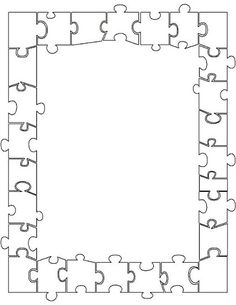 Nice border for a door display. Every kid has a puzzle piece to decorate. Page Borders Design, Border Design, Borders For Paper, Borders And Frames, Frame Template, Templates, Coloring Books, Coloring Pages, Puzzle Maker