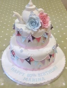 Afternoon tea party birthday cake