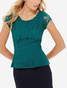 Lace Peplum Top from THELIMITED.com