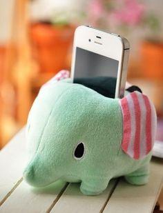 Elephant Plush Phone Holder -- WANT!