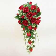 A Shower Bouquet of Red Roses