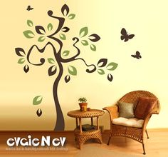I would love to do this in a metallic gold and bronze!  Vinyl Wall Sticker Decal  Tree and Flying Butterflies  by evgieNev, $75.00