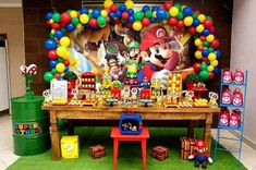 Pin by maka houde on jacobs birthday party марио. Super Mario Bros, Super Mario Birthday, Mario Birthday Party, Super Mario Party, 6th Birthday Parties, Birthday Themes For Boys, Kids Party Themes, Diy Party Decorations, Party Ideas