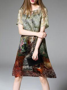 229ebc6498 Green Keyhole Short Sleeve Graphic Midi Dress Knee Length Dresses