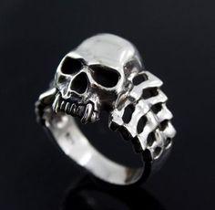 925 Sterling Silver SKULL Ring Size 10 Mens Jewelry Harley Biker Heavy Ring