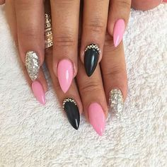 Like what you see? Follow me for more: @uhairofficial Sparkly Acrylic Nails, Pink Stiletto Nails, Almond Acrylic Nails, Glam Nails, Hot Nails, Pink Nails, Pink Nail Designs, Acrylic Nail Designs, Stylish Nails