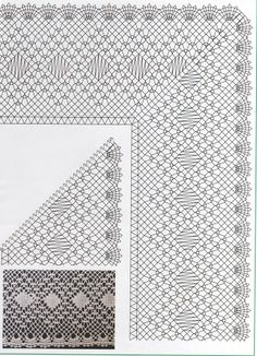 Punta con punto triangulo Crochet Borders, Crochet Diagram, Bobbin Lace Patterns, Embroidery Patterns, Crochet Books, Knit Crochet, Lacemaking, Lace Heart, Lace Jewelry