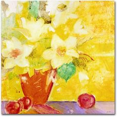Trademark Fine Art Red Vase With Apples Canvas Art by Sheila Golden, Size: 24 x 24, Multicolor