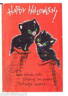 Vintage Halloween Greeting Card Norcross 2 Black Cats Sitting On Fence Posts Vintage Halloween Images, Retro Halloween, Vintage Halloween Decorations, Halloween Pictures, Halloween Cat, Happy Halloween, Halloween Night, Halloween Treats, Samhain Halloween